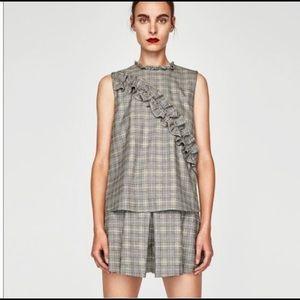 Zara woman ruffle plaid sleeveless top